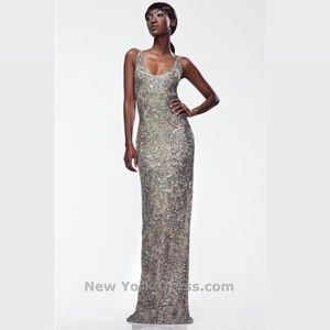 Theia Gold Sequin & Beaded Sleeveless Gown
